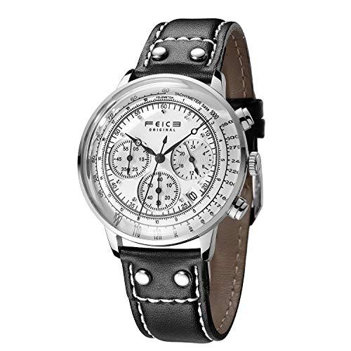 FEICE Armbanduhr Herren Japanisches Quarzwerk Analog Multifunktionsuhr mit Leder Armband (1_FS303)