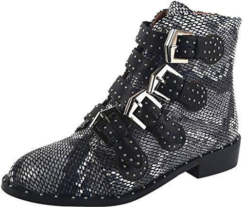 ELEHOT Damen Ezoney Flach 3.5CM Stiefel Schwarz B