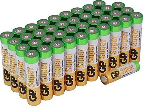 Batterien AAA Micro Super Alkaline Batterie Vorratspack 40 Stück [10 Jahre Haltbarkeit Markenprodukt GP Batteries]
