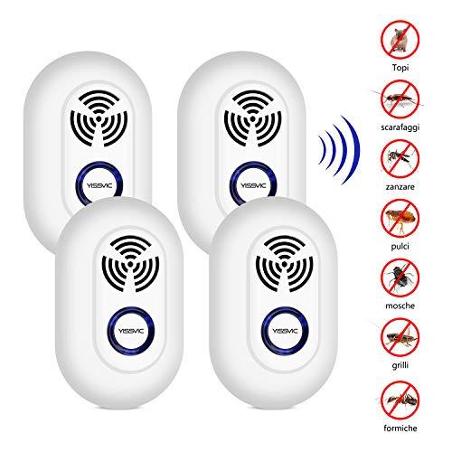 YISSVIC Repellente ad Ultrasuoni 4 pz Repellente per Zanzare Mosche Topi Scarafaggi Formiche Ragni ECC. Non Tossico per Gli Animali Domestici e l'Ambiente