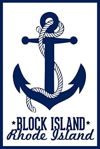Block Island, Rhode Island-Marineblau Anker Design, Papier, multi, 24 x 36 Giclee Print - Rhode Island Block Island