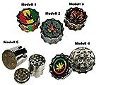 Metall Rasta Grinder Crusher für Spice, Tabak, Kräuter, Tabakmühle Cannabis Mühle - Hanfblatt o. Revolver Style (Modell 1)