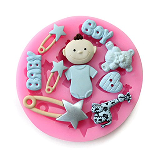 Cute baby boy bear silicone mold sugarcraft cottura strumento torta diy gift 1