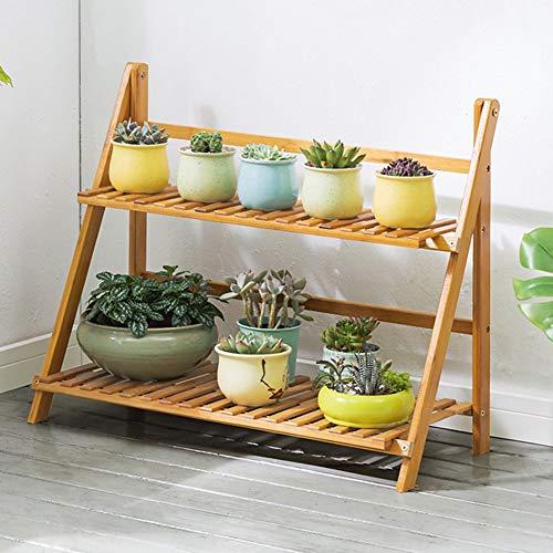 LLYU Jardin étagère support de fleurs bambou 2 couche échelle pliante bois balcon salon (taille : 70cm)