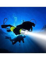 Samoleus Professionale XM-L2 LED Torcia Illuminazione Subacquea Immersioni Torcia Elettrica Torcia Impermeabile Portatile Lampada Lanterna per Caccia Campeggio (Torcia subacquea)