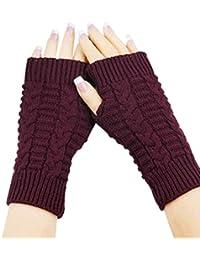Guantes calientes unisex,Ouneed ® Moda guantes hechos punto del brazo Fingerless invierno suave manopla