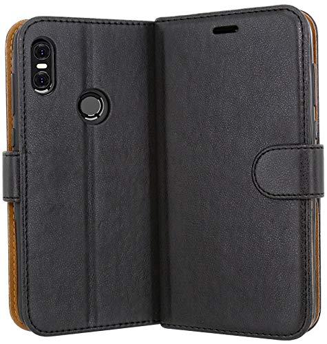 Case Collection Hochwertige Leder hülle für Motorola One Hülle (5,9 Zoll) mit Kreditkarten, Geldfächern und Standfunktion für Motorola One Hülle