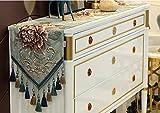 Tischläufer Blau Luxus Im Europäischen Stil, Moderne Rechteckige Tischläufer Für Couchtisch Und Hochzeit Bestickt Rot Floral Design Mit Quasten, 32 * 200 cm