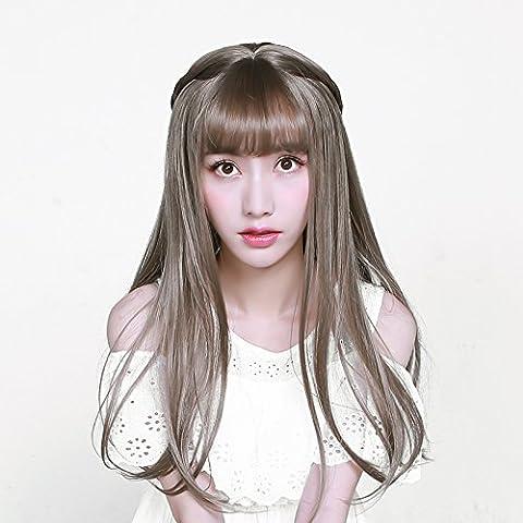 XNWP-Heather Gray Qingmuya hembra cabeza de pera de largo cabello rizado peluca Liu Qi largo cabello cabello