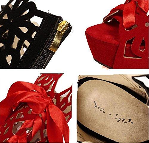 YMXJB Boîtes de nuit longue creux Europe dames sexy sandales cool bottes Black