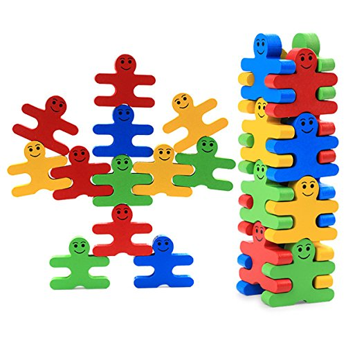 Ladrillos Madera dibujos animados Equilibrio bloques Niños DIY apilado gebaut juguete regalo 16unidades)