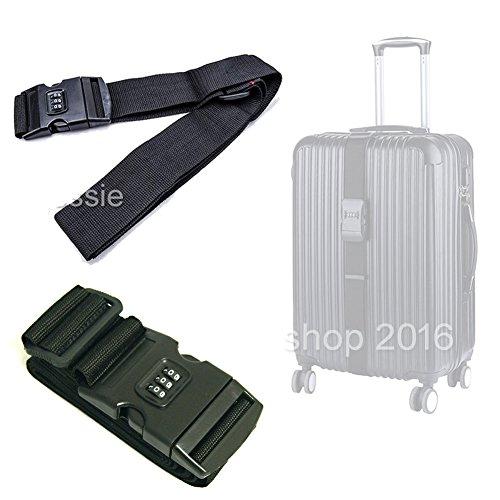 Preisvergleich Produktbild EMOTREE 2x Koffergurt Kofferband mit Zahlenschloss Gepäckband Gepäckriemen Gepäckgurt Schwarz