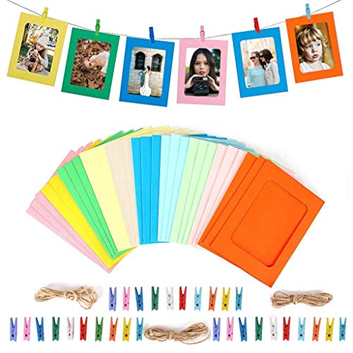 PATPAT® 30PACK Paper Photo Frame 6x4, Photo Frame Set Multiple Photos, Picture Mats with Mini Wooden Clips and String Hanging Cardboard Picture Frame Set for Home Wall Deco DIY, Color