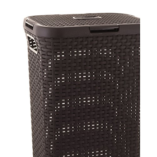 CURVER | Coffre à linge 40L - Aspect rotin, Chocolat, Laundry Hampers & Baskets, 44,7x26,5x61,5 cm