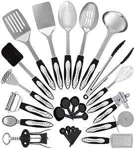 Kitchen Utensils Images To Share Facebook Twitter Pinterest Stainless Steel Kitchen Utensil Set 25 Cooking Utensils Nonstick