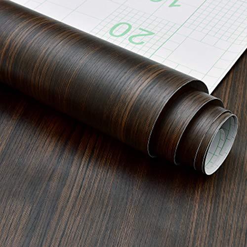 Estante vinilo autoadhesivo madera nogal oscuro rústico