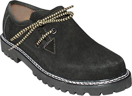 GermanWear, Trachten Haferlschuhe Trachtenschuhe Original-Handmachart Lederschuhe Wildleder, Schuhgröße:46;Farbe:Schwarz