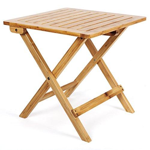 Songmics Bambus Beistelltisch Klapptisch Klapptisch Holz Tisch Gartentisch Gartenmöbel Garten Couchtisch Kaffeetisch Telefontisch 46 x 46 x 46 cm GZD46N