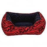 #9: SRI Imported Reversible Rectangular Designer Flower Printed Velvet Puppy Sofa Bed & Small Dog Cat Sofa (Black Red) (SMALL, BLACK RED)