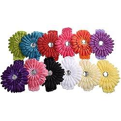 Clips de pelo - TOOGOO(R) Una docena de Clip de flores de Margarita de colores variados Clips de pelo / banda de cabeza de bebe de ganchillo de color mezclado lote para ninas, paquete de 12pzs