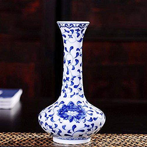 Rosepoem Porzellan Blumenvase, antike Blumen orientalische Blaue und weiße Porzellan Vase Keramik Abziehbilder bemalte Blumenvase Blumentopf für die Dekoration - A4 -