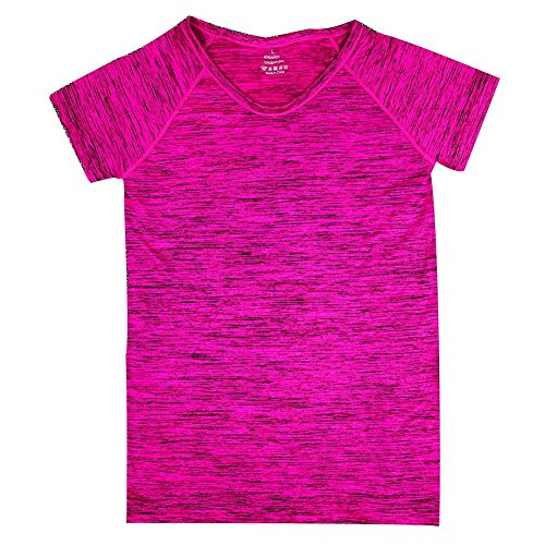 Brightup Femmes Chemise sport Gym Fitness Yoga Tops manches courtes T-shirts Rose rouge