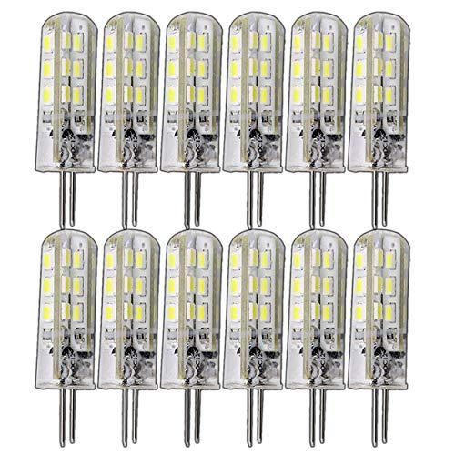 12 lampadine dimmerabili G4 da 1,5 Watt, con 24 LED SMD, bianco caldo, 12 V DC, attacco bispina, illuminazione a 360°, alogene (ricambio per lampadina alogena da 10 W)
