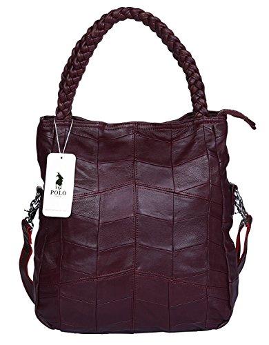 VIDENG POLO Frau Ziegenfell Leder Tote Handtasche Hobo Crossbody Umhängetasche Satchel für Damen (Weinrot-klein) (Hobo-geschenk)