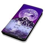Hülle Galaxy S5 / S5 Neo Hülle Samsung S5 / S5 Neo Schutzhülle Handyhülle Flip Cover Case Samsung Galaxy S5 / S5 Neo (OM1080 Wolf Wölfe Lila Blau)