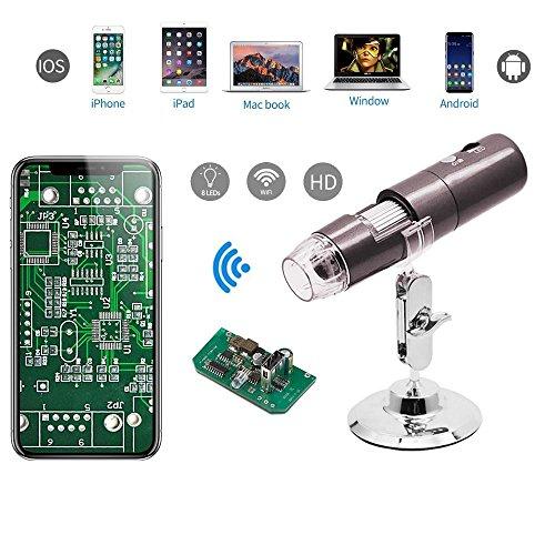 Teepao microscopio digitale usb 1000x 8led microscopio wifi hd 1080p telecamera endoscopica con supporto in metallo per adulti e bambini, foto e video disponibile, compatibile con ios android mac os windows grey