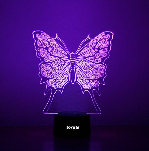 lovoin 3D ILLUSION LED Nacht Licht Schreibtisch Raum Lampe, 7Farben wechseln, Touch Schalter, USB Ladekabel, Geschenk für Kinder Familie Freunde und Home Dekoration