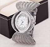 Armbanduhr Oval Broadband Gold Silber Mesh Uhr mit Damen Fashion Watch silver