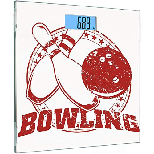 Ultra Slim Hochpräzise Sensoren Digitale Körperwaage Bowling Partydekorationen Gehärtetes Glas Personenwaage, Grunge Kreis der Sterne Vintage Distressed Emblem Design Typografie, Red Whi