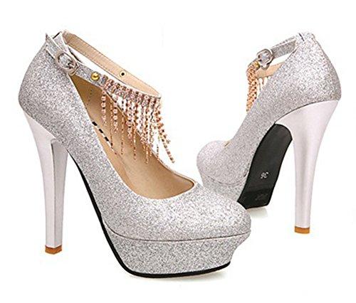 Aisun Damen Glitzer Pailletten Round-Toe Plateau High Heels Pumpen Schuhe mit Schnalle Gold 39 EU 9uUZp