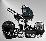 True Love Larmax Kinderwagen Komplettset (Autositz & Adapter, Regenschutz, Moskitonetz, Schwenkräder) 15 Cosmic Black & Cosmic Flowerpower