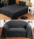 Homescapes waschbare Tagesdecke Sofaüberwurf Plaid Rajput 150x200 cm in Ripp-Optik Bettüberwurf aus 100% Baumwolle in schwarz