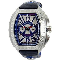 Adee Kaye Tonneau Herren Chronograph Blau Leder Armband Datum Uhr AK7230-M/BU