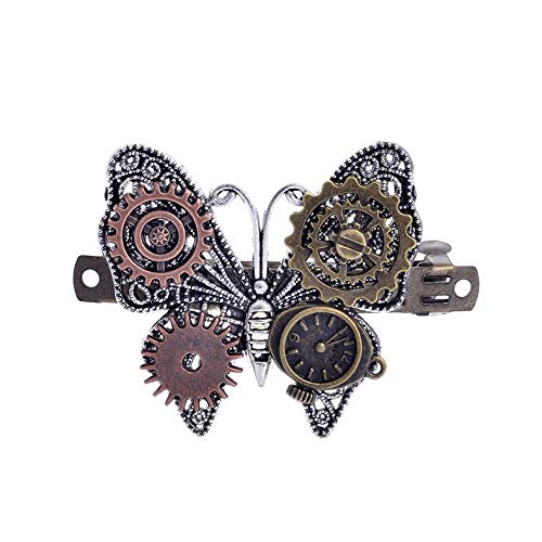 ghfcffdghrdshdfh Jewelry Steampunk Gear Alloy Butterfly Spring Clip Hair Clip Hair Accessories -