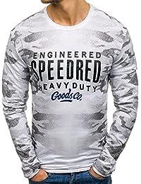 BOLF – T-shirt manches longue – Imprimé – Col rond – Camouflage – Homme 1A1