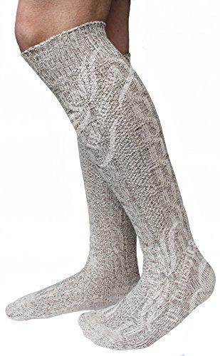 Herren Trachtensocken, Kniebund Socken, Strümpfe für Ihre Lederhose, 1 Paar, Beige/meliert (45-47)