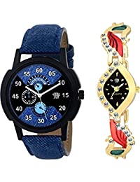 Swadesi Stuff New Arrival Exclusive Stylish Blue Leather Strap And Kundan Golden Watch Combo For Men And Women...