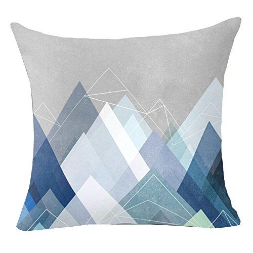 pu ran Blume Geometrische Muster Wurf Kissenbezug Kissenbezug Startseite Sofa Dekor - 18 Blaue Grafik (Dekorative Kissen-abdeckungen Blau)