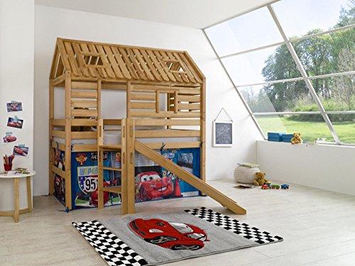 Preisvergleich Produktbild Relita Spielbett Toms Hütte mit Rutsche und Textilset Disney, Buche massiv, geölt