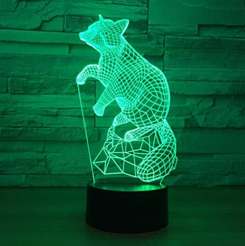 ZJFHL Fox 7 Farbe Lampe 3D Visuelle Tier Led Nachtlichter Für Kinder Fernbedienung USB Batterie Tisch Baby Schlafen (Tisch Star Wars Decken)