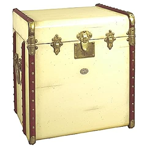 ProPassione Trunk Table Pullman, small, antique look, colour ivory/cherry wood, brass hinges, w 53 x h 56 x d 45 cm