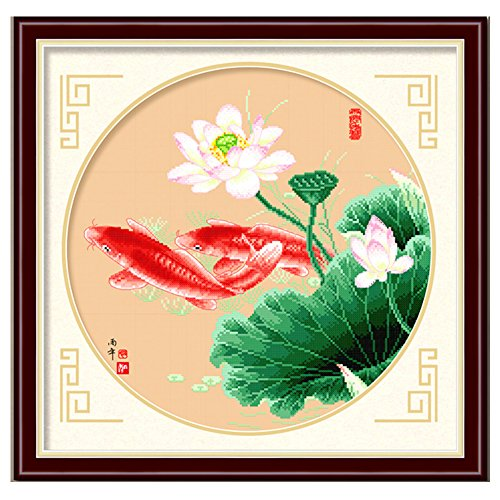DOMEI Stamped Cross Stitch Kit, Koi Fish Swimming, 19.3 x 19.3inches (Fish Stitch Cross Koi)