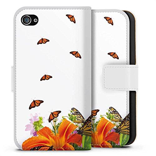 Apple iPhone X Silikon Hülle Case Schutzhülle Schmetterlinge Blume Lilie Sideflip Tasche weiß