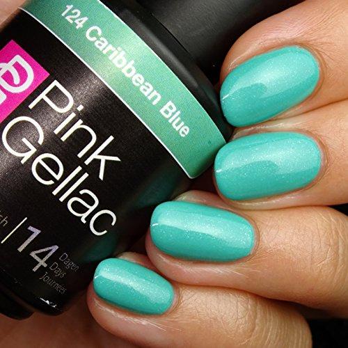 Vernis à ongles Pink Gellac 124 Caribbean Blue. 15 ml gel Manucure et Nail Art pour UV LED lampe, top coat résistant shellac