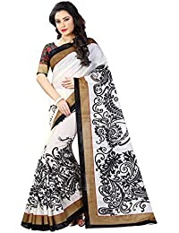 Shree Sanskruti Women's Bhagalpuri Art Silk Printed Saree With Blouse Piece (BHAGALPURI SAREE 20 BLACK_White Free...