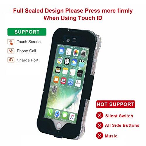 Wasserdichte Hülle für iPhone 7 Plus, iThrough® Wasserdichte hülle für iPhone 7 Plus Waterproof Case, Staubdichte, Schneedichte, Stoßfeste, Schwerlaste Schutzhülle für iPhone 7 Plus, 5.5 Zoll Schwarz